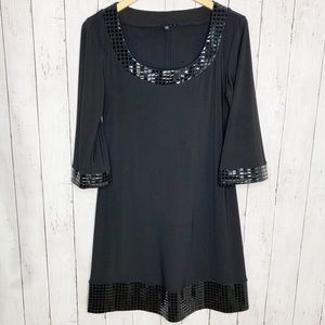 TIANA B. Black 3/4 Sleeve Dress with Shiny Squares